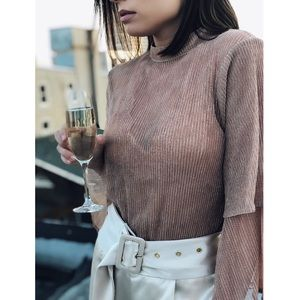 Tops - 🆕Mara Sheer Rose Gold Bell Sleeve Top